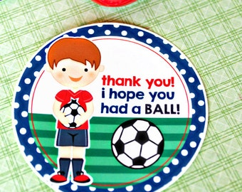 Soccer Boys Printable Party Favor Tags, Cupake Toppers, Printable Soccer Party Favors, Boys Soccer Thank You Tags, circle gift tags