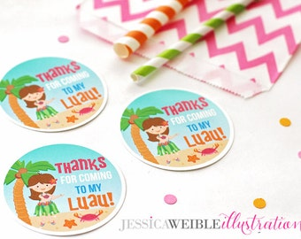 Brunette Hula Girl Printable Party Favor Tags, Cupake Toppers, Printable Luau Party Favors, Thanks for Coming to My Luau, Hula Party Tags
