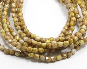 4MM WHITE PICASSO Fire Polished Beads - Czech Faceted Round Beads - 50 Beads