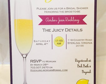 Mimosas and Matrimony Invitation, Bridal Shower Invitation, Lemon Themed Invitation, Purple and Yellow Wedding, Custom Bride, 5x7 Invites