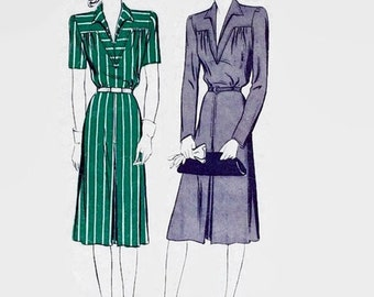 Vintage 1940s Sewing Pattern - Butterick 2485 Sewing Pattern - One-piece Tailored Dress - Size 14 - Bust 32 - Yoke Front - 1940s Dress