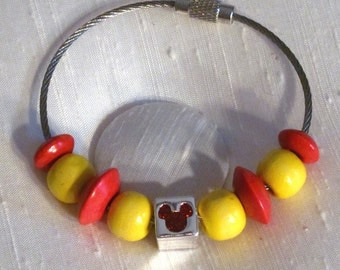 Set of 2 Steel Cable Friendship Bracelets - Red/Yellow, or Pink/Purple, with Recycled Disney Mickey Beads - Secure Screw-On Clasps