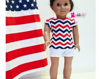 Special Sale 18 inch Girl Doll Clothing, Chevron Striped Top, White Shorts made to fit like American girl doll clothes