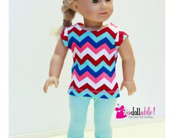 American made Girl Doll Clothes, 18 inch Doll Clothing, Chevron Top with Capris or Leggings made to fit like American girl doll clothes