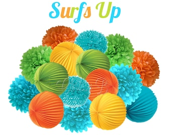 Surfer Party Decorations - Deluxe Accordion Lantern & Tissue Pom Kit - Lime Green, Aqua Blue, Yellow, Orange - SURFS UP party theme