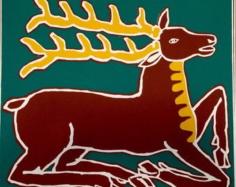 Vintage Stag Screenprint by Gail Holliday, 1972 - Limited edition on Green Background