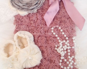 Dusty Rose Ruffle Baby Romper, Petti Lace Romper, Baby Romper, Lace Romper, Petti Romper Girls Romper, Romper, Romper With Bow