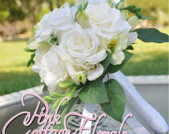 White Roses and Freesia Classic Bridal Bouquet.  White bridal bouquet. Small bridal bouquet.