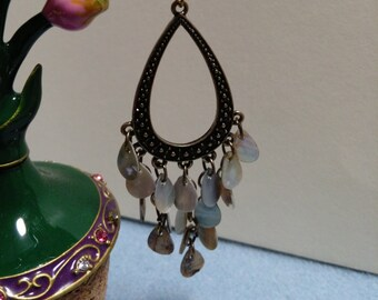 Earrings, Chandelier Earrings, Mother of Pearl Shell Earrings with Antique Bronze Components