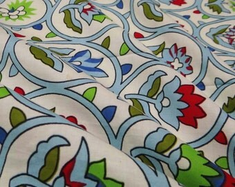 White Printed Cotton Fabric Decorative Craft Supply Fabric For Sewing Dress Making Fabric Material Floral Cotton Fabric By 1 Yard ZBC5487