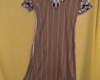 Vintage Embroidered Brown Indian Kurta Tunic And Patiala Pants Harem Pants Boho Ethnic