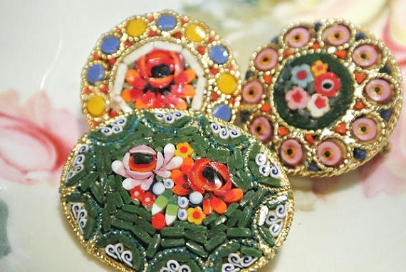 Vintage Micro Mosaic Brooch Millefiori Glass Brooches Italy Italian Floral Glass Beads 1950s 50s Mid Century Italian Florentine Art Artisan