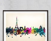 Paris watercolor poster print colorful design