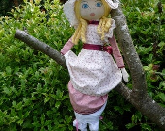 Emily - handmade rag doll, cloth doll, a modern heirloom,  gift for a girl