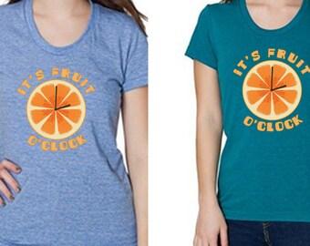 Fruit O'Clock Ladies Shirt - American Apparel Tri-Blend - Fruit Shirt - Vegan Shirt