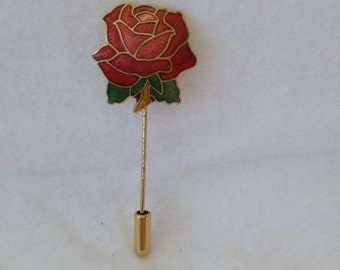 Pink Rose Cloisonne with Gold Trim Tie, Scarf, or Lapel Pin