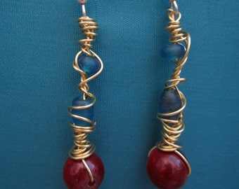 Copper jewelry, gemstone jewelry, glass, leather and cloth