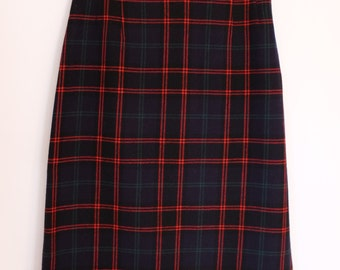 Pendleton Plaid Pencil Skirt / Vintage 90s / Navy / Small