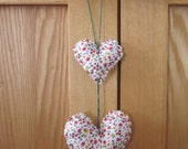 Floral hanging hearts mobile
