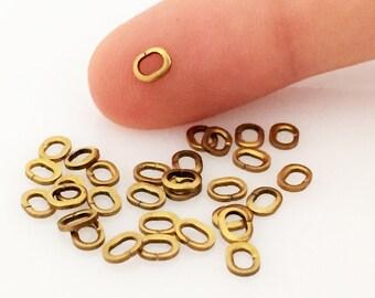 250 pcs 4,5x3,5 mm raw brass Oval Jump Ring Connectors 0,80