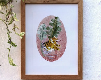 Tiger in the jungle watercolor print - In the space 01