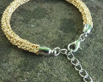 Gold Sparkly Knitted Bracelet