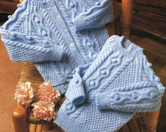 """Sweater & Cardigan PDF Knitting Pattern 20-26"""" (51-66cm) chest DK with Bobble and Moss stitch detail"""