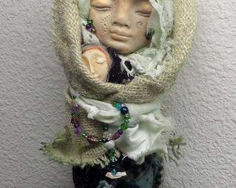 Ooak art doll,  Unique wall decor, Kitchen witch, Spirit art doll, Goddess figure, Original awesomeart, Burlap Decor, Cottage Shabby Schic