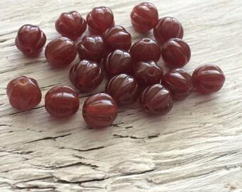 Czech glass beads- melon beads dark milky caramel 8mm  pack of 20