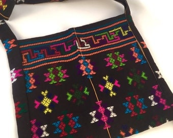 Vintage Black and Neon Bag Purse Shoulder Bag - Summer Festival Bag - Geometric Shapes Triangles Stripes - Colorful Pink Yellow Green Ethnic