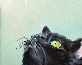 Cat Oil Painting, Black Cat with Bumblebee, Bee painting, I'll paint this for you, oils on canvas, 8 x 10