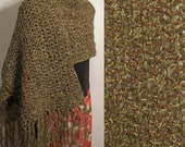 Hand Crochet Knit Shawl in brown and green