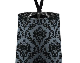 Car Trash Bag // Auto Trash Bag // Car Accessories // Car Litter Bag // Car Garbage Bag - Damask - Dark Grey and Black // Car Organizer