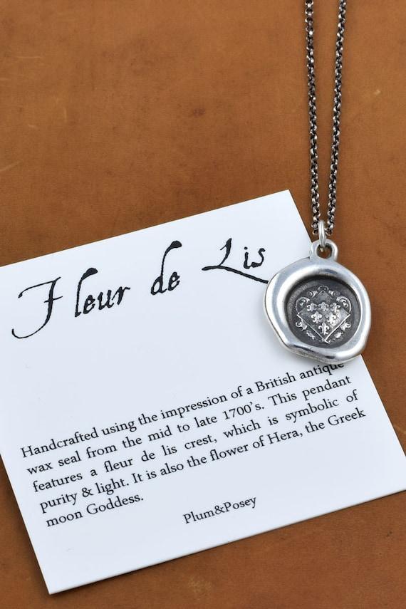 Fleur-de-lis Crest Wax Seal Necklace 6 Fleur de lyse - French Lily Iris - 251