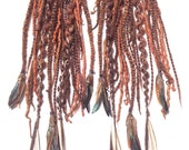 Pair of Auburn Tribal Pony Falls with Feathers- CUSTOM MADE