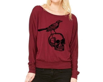 Women's Raven Shirt Long Sleeve Dolman Skull Tshirt Raven Slouchy shirt off shoulder  shirts Cute tops comfy clothing screenprint
