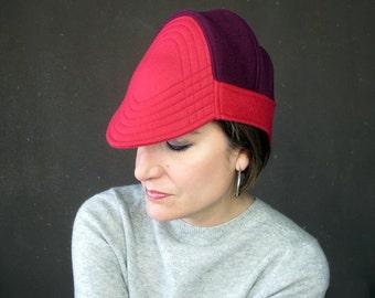 Wool Aviator Cap, Minimalist Design, Warm Winter Cloche, Modern Millinery, Womens Hats Trendy, Winter Fashion, Rose Red Hat : Solstice