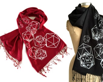 d20 scarf. RPG twenty sided die, screenprinted linen weave pashmina. Red, black & more. D and D inspired, polyhedral dice geek gift.