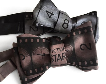 Movie Film bow tie. Academy Film Leader bowtie. Actor, producer, film student, grip, director gift. Red carpet style!