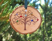 Birthstone Ornament Wall Hanging Wood Cut Family Geneology Tree Personalized Custom Gift Great Grandmother Mother Swarovski Christmas