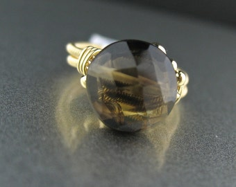 Brown Stone Wire Wrapped Goldfilled Small Ring, Wire Wrapped Stone Ring Size 4.5, Small Brown Ring, Wire Wrapped Jewelry, Wired Stone Ring