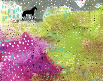Abstract Horse Print , Horse Painting, Large Canvas Print , Fine Art Print, Landscape Painting Print, Large Art Print, Colorful Painting