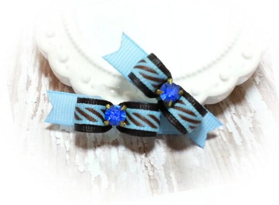 Blue Rhinestone Dog Bow for Boys, Blue Dog Bow, Boy Dog Bow