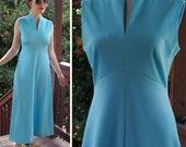 CHEVRON Stripe 1970's Vintage Light Blue Sleeveless Polyester MAXI Dress // size Small Medium // by Leslie Fay for I.MAGNIN