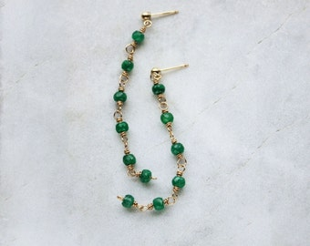 emerald earrings, long green post earrings, gold emerald posts