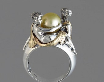 TWO BEAUTIES silver & 14k gold Golden South Sea Pearl ring