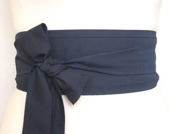 Dark navy indigo blue cotton fabric Oriental asian eastern style Obi dress belt sash tie