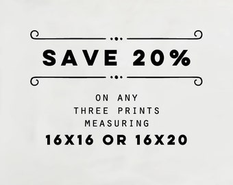 SAVE 20% - Custom Photography Collection, Choose Any Three 16x16 or 16x20 Prints