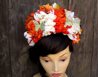 Harvest Day of the Dead Headband, Dia De Los Muertos, Day of the Dead Hair, READY TO SHIP