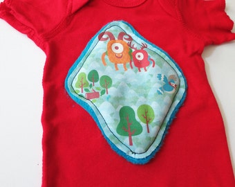 Infant t-shirt with monster fabric appliqué - mountains, monsters, goat, hiking - Size 12 MONTHS
